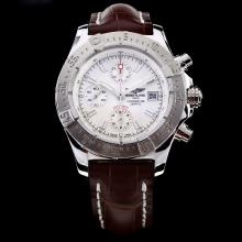 Breitling Chrono Avenger Chronograph Swiss Valjoux 7750 Movement White Dial with Leather Strap-Sapphire Glass