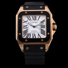 Cartier Santos 100 Swiss ETA 2836 Movement Rose Gold Case PVD Bezel with White Dial-Black Rubber Strap