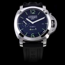 Panerai Luminor GMT 8 Days Working Power Reserve Automatic with Black Dial-Rubber Strap