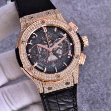 Hublot Big Bang Working Chronograph  Swiss Valjoux 7750 Movement  Rose Gold Diamond Case with Gray Dial-Black Strap