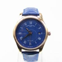 Patek Philippe Automatic Rose Gold Case with Blue Dial Leather Strap