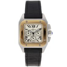 Cartier Santos 100 Two Tone Working Chronograph Same Chassis As 7750-High Quality