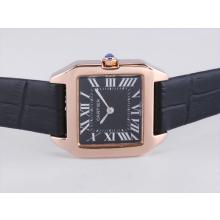 Cartier Santos Dumont Rose Gold Case with Black Dial Leather Strap