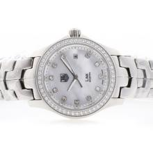 Tag Heuer Link Swiss ETA Movement MOP Dial with Diamond Marking & Bezel S/S-Lady Model 1:1 Version