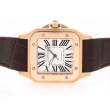 Cartier Santos 100 Swiss ETA 2836 Movement Rose Gold Case with White Dial Brown Leather Strap