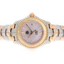Tag Heuer Link 200 Meters Swiss ETA Movement Two Tone Stick Markers with Pink MOP Dial Lady Size 1:1 Version