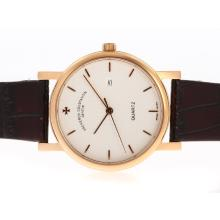 Vacheron Constantin Overseas Rose Gold Case with White Dial Leather Strap