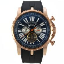 Roger Dubuis Excalibur Tourbillon Automatic Rose Gold Case with Black Dial