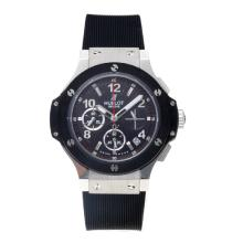 Hublot Big Bang Working Chronograph with Black Dial and Strap-Lady Size