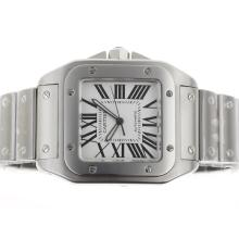 Cartier Santos 100 Swiss ETA 2824 Movement with White Dial S/S
