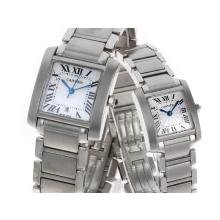 Cartier Tank Swiss ETA Movement with White Dial S/S-Couple Watch