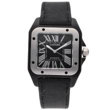 Cartier Santos 100 Swiss ETA 2836 Movement Titanimu Case with Black Dial Nylon Strap