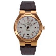 Vacheron Constantin Overseas Swiss ETA 2836 Movement Rose Gold Case with White Dial Leather Strap
