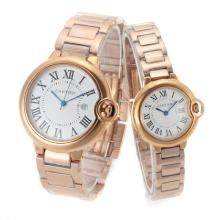 Cartier Ballon bleu de Cartier Full Rose Gold with White Dial Couple Watch-1
