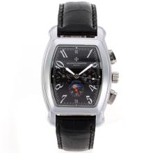 Vacheron Constantin Overseas Automatic with Black Dial Leather Strap