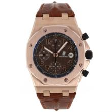 Audemars Piguet Royal Oak Offshore Chrono Swiss Valjoux 7750 Movement Rose Gold Case with Brown Checkered Dial-Brown Leat