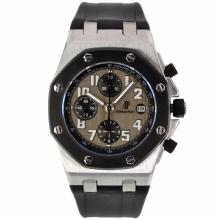 Audemars Piguet Royal Oak Offshore Chrono Swiss Valjoux 7750 Movement PVD Bezel with Gray Checkered Dial-Rubber Strap