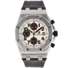 Audemars Piguet Royal Oak Offshore Chrono Swiss Valjoux 7750 Movement with White Checkered Dial-Black Rubber Strap