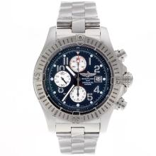 Breitling Super Avenger Chronograph Swiss Valjoux 7750 Movement Number Markers with Black Dial S/S