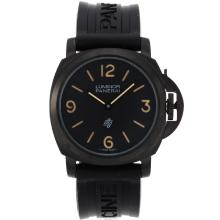 Panerai Luminor OP Logo Unitas 6497 Movement PVD Case with Black Dial Rubber Strap