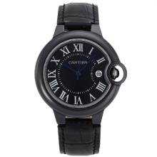 Cartier Ballon bleu de Cartier Authentic Black Ceramic Case with Black Dial Leather Strap