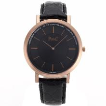 Piaget Altiplano Unitas 6497 Movement Rose Gold Case with Black Dial Leather Strap
