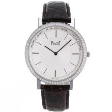 Piaget Altiplano Unitas 6497 Movement Diamond Bezel with White Dial Leather Strap