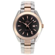 Omega Seamaster Co-Axial Two Tone Stick Markers with Black Dial 1