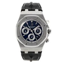 Audemars Piguet Royal Oak Chronograph Swiss Valjoux 7750 Movement with Blue Checkered Dial-Leather Strap