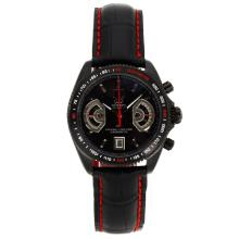 Tag Heuer Grand Carrera Calibre 17 Working Chronograph PVD Case with Black Dial Leather Strap-2